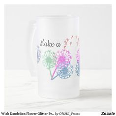 Shop Wish Dandelion Flower Glitter Pretty Elegant Frosted Glass Beer Mug created by ONME_Prints. Personalized Buttons, Glass Beer Mugs, Dandelion Flower, Drinking Glass, Make A Wish, Tea Mugs, Frosted Glass, Flower Making, Colored Glass