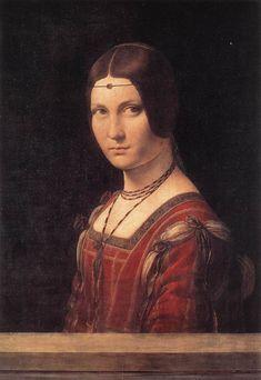 """Retrato de uma mulher desconhecida (La Belle Ferroniere) de Leonardo da Vinci. No Renascimento nota-se o desaparecimento dos toucados sendo estes substituídos por peças de joalharia - """"ferronière"""" - normalmente feitas com pérolas e jóias."""