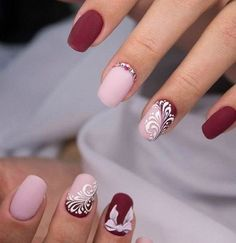 The elegant ladies, who used to excellence in every stroke, will be enjoyed by such variant of nail design. Matt cherry and pale pink lacquers blend perfec