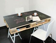 Upcycling Tisch aus Europalette und Kreidetafel // Table made of Euro palettes and a chalk board by… Pallet Desk, Pallet Crates, Wooden Pallets, Pallet Furniture, Furniture Design, Pallet Tables, Pallet Benches, Pallet Cabinet, Pallet Couch