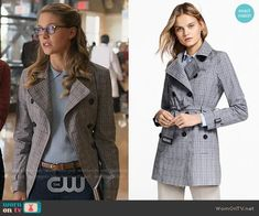 Brooks Brothers Plaid Stretch Cotton Trench Jacket worn by Melissa Benoist on Supergirl