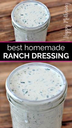This homemade Buttermilk Ranch Dressing is easy to make with fresh herbs or my dry spice mix. It& a restaurant quality ranch dressing recipe. Best Ranch Dressing, Buttermilk Ranch Dressing, Recipe For Ranch Dressing, Restaurant Ranch Dressing, Italian Dressing, Recipe For Homemade Ranch Dressing, Dill Ranch Recipe, Hidden Valley Ranch Dressing Mix Recipe, Restaurant Ranch Recipe