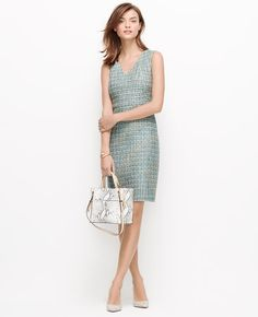 Highlighted with flecks of gorgeous spring color, our tweed sheath dress shows off a body-skimming, impeccably fitted silhouette for a stunning office-to-evening look.