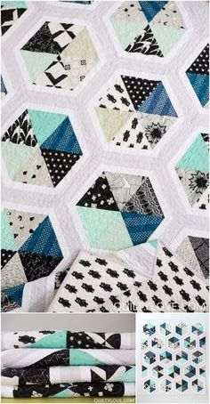Triangle Hexies Quilt Pattern by Emily of quiltylove.   This modern hexagon quilt goes together quickly and is fat quarter friendly.   This Triangle Hexies quilt is made using Cotton and Steel fabrics.