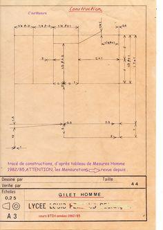 construction lignes de base, tracé du gilet Tailleur.