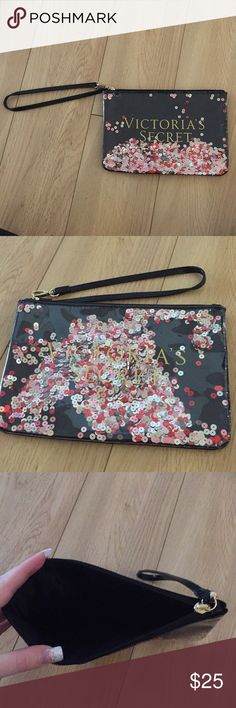 Victoria secret handbag Black hand bag with silver, red, and pink moveable sequins in the front Victoria's Secret Bags Mini Bags