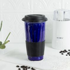 Ceramic Coffee Travel mug, cobalt with blue black silicon lid, handmade pottery, Kitchen gift for him / her, BlueRoomPottery by blueroompottery on Etsy https://www.etsy.com/listing/210222245/ceramic-coffee-travel-mug-cobalt-with