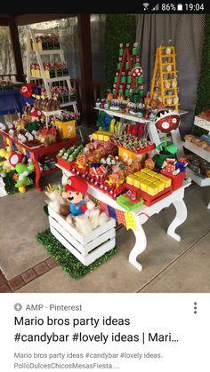 Super Mario Bros, Super Mario Birthday, Mario Birthday Party, Super Mario Party, 9th Birthday Parties, Birthday Party Tables, 5th Birthday, Mario Y Luigi, Nintendo Party