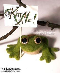 Needlefelted Frog Prince $48