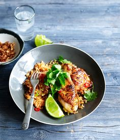 Grilled lemongrass chicken with tomato rice - Gourmet Traveller