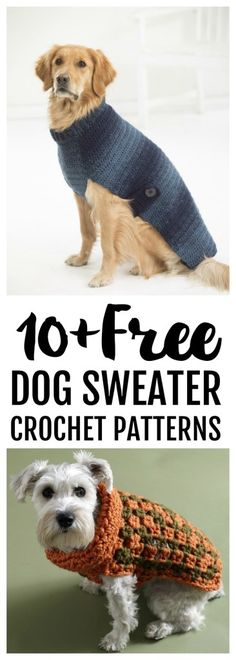 Free Dog Sweater Crochet Patterns - Psychedelic Doilies - - It's National Love your Pet Day! So what better time to showcase some free dog sweater crochet patterns for our favorite fur babies. Crochet Dog Sweater Free Pattern, Dog Coat Pattern, Knit Dog Sweater, Crochet Dog Hat Free Pattern, Sweater Coats, Free Crochet Sweater Patterns, Pull Crochet, Crochet Hats, Crochet For Dogs