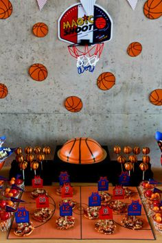 Basketball theme party for boys.. Love this!