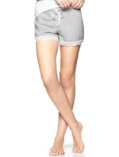 Terry lace-trim shorts