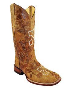 Ferrini Women's Distressed Floral Cross S-Toe Boot - Antique Saddle