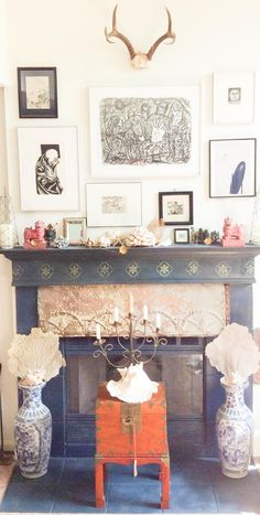 This amazing fireplace transformation is by Stockist Lauren Camarata of Old French Trading Co in Turlock, CA. She used  a variety of colors from the Chalk Paint® palette for this stunning makeover | Via The Palette Blog