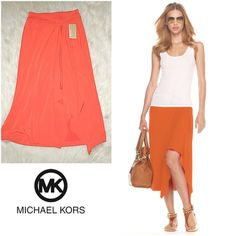 "NWT Michael Kors Orange Drape Front Skirt XSMALL B1-17-SGW8 - NWT Michael Kors Orange Drape Front Skirt XSMALL - Description: Michael Kors skirt. Made of 94% polyester and 6% spandex. / Measurement: Size XS. Top to bottom: 32 3/4"". Width: 24"". / Condition: New with tags / Color: Orange Michael Kors Skirts"