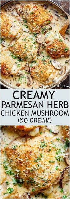 A thick and lightened up Creamy Parmesan Herb Chicken Mushroom with a kick of garlic is your new favourite dinner recipe! With NO heavy cream — or ANY cream — at ALL!   https://cafedelites.com