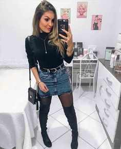 wonderful winter outfits ideas for this season 15 Denim Skirt Outfits, Komplette Outfits, Trendy Outfits, Winter Outfits, Fashion Outfits, Denim Skirt Outfit Winter, Jeans Fashion, Outfit Summer, Night Outfits