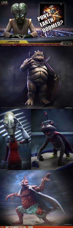 Realistic futurama aliens.