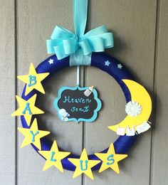 I made this for a friend . I saw a similar wreath - Baby interests Homecoming Decorations, Baby Shower Decorations For Boys, Baby Decor, Baby Door Wreaths, Baby Boy Wreath, Welcome Home Baby, Welcome Baby Boys, Baby Door Hangers, Baby Boy Scrapbook