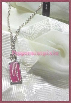 MARC JACOBS Supply Pendant Necklace Dog Tag Raspberry Silver Chain GRT PRICE #MarcJacobs #Pendant