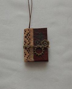 """Brownie"" Mini Junk Journal Pendant"