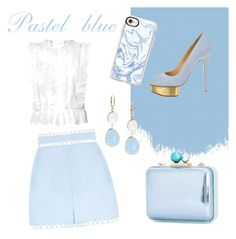 """""""Pastel blue with Charlotte Olympia pumps"""" by marie-de on Polyvore featuring mode, Sophia Webster, Zimmermann, Charlotte Olympia, Casetify et Saks Fifth Avenue"""