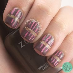 Brown + Inspired by a Book  #nails, #nailart, #nailpolish, #brown, #pink, #heydarlingpolish, #52weekchallenge, #watercolor, #lines