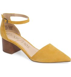 Free shipping and returns on Sole Society Katarina Block Heel Pump (Women) at Nordstrom.com. <p>A versatile favorite that's as flattering as it is classic, this d'Orsay pump cut from lush suede features a slender ankle strap and a stacked block heel.</p> Suede Pumps, Women's Pumps, Travel Shoes, Clearance Shoes, Types Of Shoes, Shoe Brands, Womens Flats, Block Heels, Ankle Strap