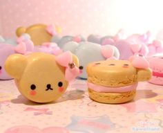 Polymer clay macaron bear with bow