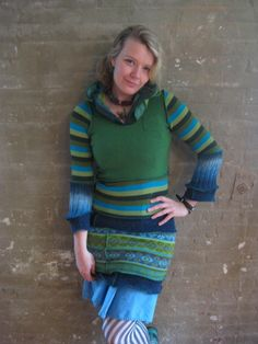 DRESS-crazy green stripedelic by katwise on Etsy