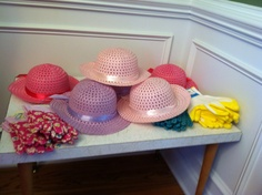 Great party favor that isn't junk food! Target dollar spot Easter hats as girls garden hats and all kids took the gloves they used for the seed planting craft. #gardenparty #partyfavor #spring
