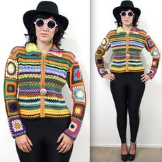 Vintage Rainbow Crochet Lace Knit Hippie Festival Jacket
