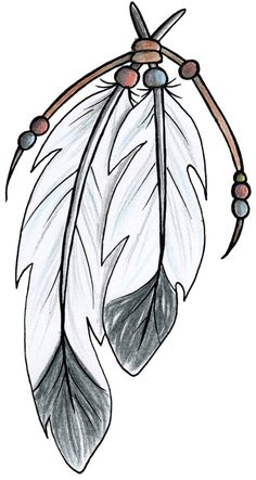 Native American style Feathers Tattoo Design