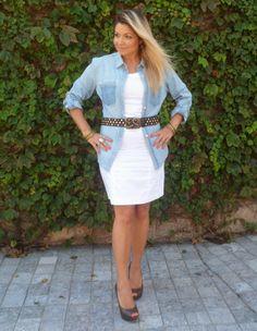 Look Work – Vestido Branco   Camisa Jeans