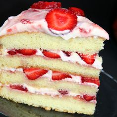 Vanilla Cake with Strawberry Cream Frosting Recipe