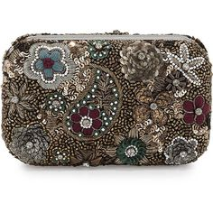 Alice + Olivia Metallic Paisley Hard-Shell Clutch Bag ($495) ❤ liked on Polyvore featuring bags, handbags, clutches, multi colors, rhinestone handbags, colorful purses, floral print purse, floral clutches and floral handbags
