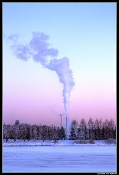 Viinikanlahti smoke in icy Finland