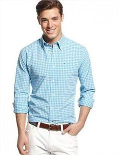 Camisa Tommy Hilfiger Men's Check Pattern Camden Shirt Blue Mist #Camisa #Tommy Hilfiger
