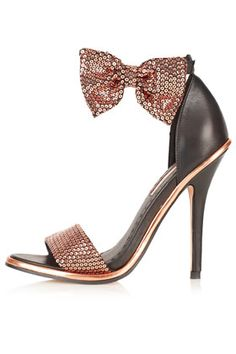 Topshop 'Rule' strappy bow sandals, Every so often when I'm hunting down shoes to feature on this site, I'll come across a particular pair and, rather Cute Shoes, On Shoes, Me Too Shoes, Shoe Boots, Awesome Shoes, Bow Heels, Bow Sandals, Strappy Heels, Stiletto Heels