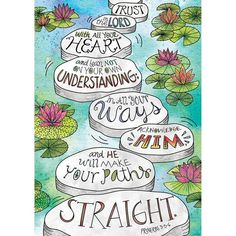 Motivate and inspire with the powerful message on this Scripture-based poster! This Proverbs Rejoice Inspire U poster features a Doodle Art, nature-inspired lily pad design. Trust in the Lord wi Scripture Art, Bible Art, Scripture Images, Bible Verses Quotes, Bible Scriptures, Art Quotes, Lettering, Image Jesus, Bibel Journal