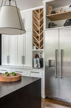 Home Interior Diy Gorgeous White And Gray Kitchen With Built In Wood Wine Rack M I L L In 2020 Kitchen Inspiration Design Built In Wine Rack Kitchen Lighting Design