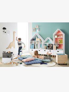 Meuble de rangement 9 cases Maison Blanc/bleu 5 - vertbaudet enfant