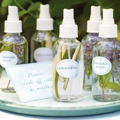 All-Natural Mists How-To | A refreshing spritz of fragrant water is a great way to keep cool in summer. To create sprays, simply fill mist bottles with water and a few strips of julienned cucumber or sprigs of lavender and mint.