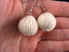 Yarn ball earrings white earrings yarn skein by WorldOfWoolly, $15.00  Add doterra essential oils to the little cuties and enjoy the aroma all day!