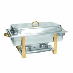 Excellant__ Stainless Steel  8 Quart Gold Accented Oblong Chafer >>> Tried it! Love it! Click the image. : Specialty Cookware