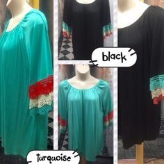 """💥HP 2/20💥MULTI COLOR BELL SLEEVE DRESS OR TUNIC Beautiful tunics with multi-layer, multicolored lace sleeve detail. Elastic neckline. Polyester, spandex and cotton. Turquoise or black with red, white & turquoise lace.                                                                 ♦️2X: bust 56"""" hips 64"""" tla2 Dresses"""
