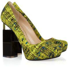 Nicholas Kirkwood + Erdem geometric-heeled printed silk-covered leather pumps