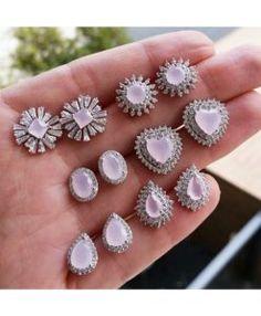 brincos delicados zirconias rosa leitosa