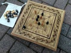 Nine Men's Morris, Twelve Men's Morris, Merrills, Mill Game custom handcrafted board and pieces with wood burned decoration MADE TO ORDER